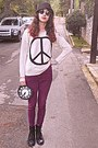 White-peace-sign-romwe-sweater-black-boots