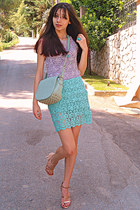 aquamarine lace Zara skirt - periwinkle Chicwish dress - aquamarine lulus bag