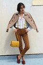 Mustard-lulus-bag-tan-stradivarius-jacket-brown-pants-burnt-orange-loafers
