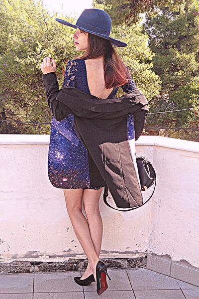 navy galaxy romwe coat - navy lace Zara dress - navy Zara hat
