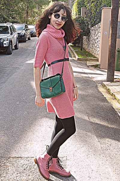 green bag - bubble gum OASAP boots - bubble gum dress - black romwe sunglasses