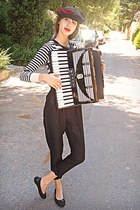 black beret H&M hat - white striped H&M sweater - black Tommy Hilfiger flats