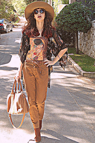 black floral kimono blouse - burnt orange H&M boots - mustard kiss romwe dress