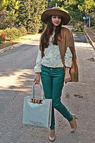 ivory 3d flowers romwe sweater - camel H&M hat - ivory ted baker bag