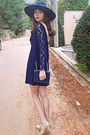 Navy-lace-zara-dress-navy-zara-hat-navy-vintage-bag-nude-heels