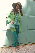 aquamarine polka dot romwe blouse - chartreuse Barbour coat - camel H&M hat