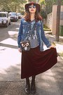 Crimson-velvet-chicwish-skirt-black-boots-navy-denim-frayed-jacket
