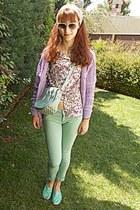 white floral romwe shirt - aquamarine bag - aquamarine pants