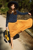 mustard lulus bag - navy Zara hat - navy Chicwish sweater