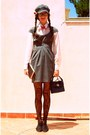 Heather-gray-stradivarius-dress-heather-gray-hat-navy-vintage-bag-black-ox