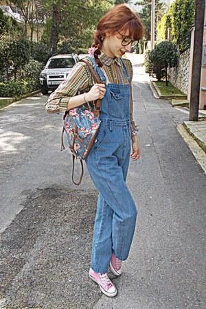 violet overalls romwe jeans - aquamarine tribal romwe shirt