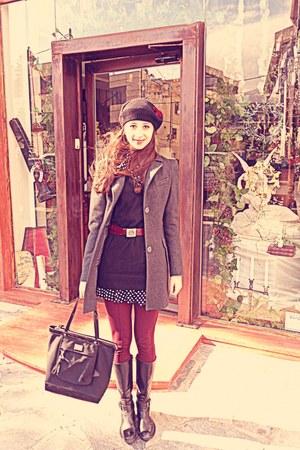 black polka dot Dorothy Perkins dress - black boots