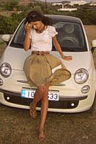 white Mulberry purse - white Zara top - camel skirt - camel sandals
