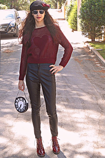 maroon heart Pop Couture sweater - maroon boots - black beret hat