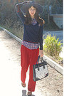 Navy-zara-hat-navy-tommy-hilfiger-sweater-ruby-red-plaid-zara-shirt