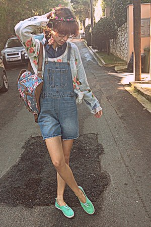 white floral romwe sweater - coral floral backpack romwe bag