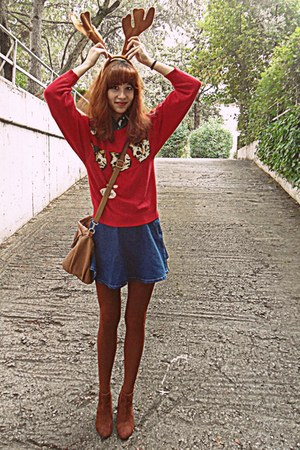 red cats romwe sweater - burnt orange H&M boots - burnt orange tights