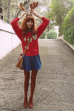 red cats romwe sweater - burnt orange H&M boots - burnt orange tights