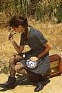 White-clock-diy-bag-black-boots-navy-polka-dot-dorothy-perkins-dress