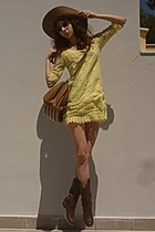 brown cowboy boots - yellow lace dress - bronze bag - giant vintage sunglasses