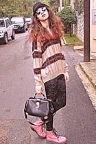 beige VJ Style sweater - pink OASAP boots - black hat