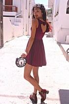 maroon heart Hex Effex dress - maroon boots - black clock DIY bag