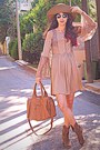 Tan-rare-london-dress-tan-cowboy-boots-tan-h-m-hat-bronze-mimiboutique-bag