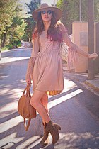 tan rare london dress - tan cowboy boots - tan H&M hat - bronze mimiboutique bag