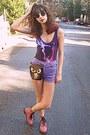 Pink-oasap-boots-black-bag-light-purple-oasap-shorts