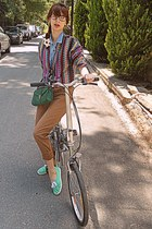magenta romwe cardigan - sky blue Stradivarius shirt - green bag
