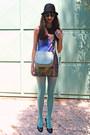 Violet-galaxy-chicwish-dress-black-hat-aquamarine-tights-aquamarine-bag