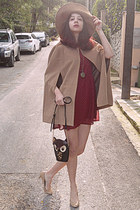 maroon studded Stradivarius dress - camel H&M hat - black owl bag