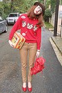 Dark-brown-romwe-hat-red-cat-romwe-sweater-mustard-bag