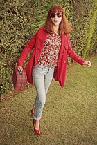 white floral romwe shirt - ruby red coat - light blue vintage levis jeans