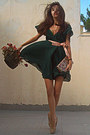 Forest-green-h-m-dress-nude-steve-madden-pumps