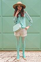 aquamarine polka dot romwe blouse - camel H&M hat - aquamarine tights