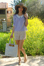 Ivory-crochet-chicwish-shorts-camel-h-m-hat-ivory-ted-baker-bag