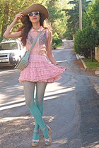 aquamarine tights - aquamarine lulus bag - light pink romwe wedges