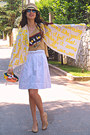 Yellow-little-darling-quotation-marks-scarf-yellow-diy-bag-romwe-sunglasses