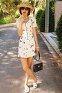 Red-strawberry-diy-sneakers-ivory-koogul-dress-hat-navy-vintage-bag