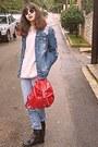 Beige-vintage-jumper-black-boots-periwinkle-levis-jeans