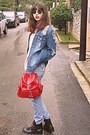 Black-boots-periwinkle-levis-jeans-navy-ripped-zara-jacket