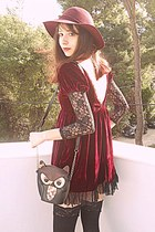 brick red boots - brick red velvet romwe dress - maroon H&M hat - black owl bag