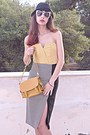 Light-yellow-threadsence-dress-black-hat-mustard-lulus-bag