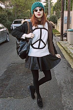 black leather romwe skirt - black fur parka romwe coat - teal beanie hat