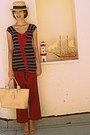 Navy-striped-bow-top-nude-longchamp-bag-nude-steve-madden-pumps