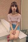Light-blue-denim-romwe-skirt-white-romwe-top-red-ebay-heels