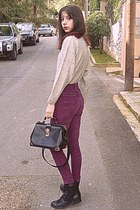 black Chicwish bag - black boots - magenta high waisted jeans