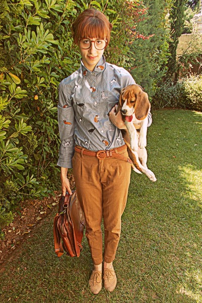 periwinkle cat romwe shirt - tan oxfords Topshop shoes - burnt orange bag