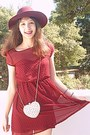 White-studded-heart-romwe-bag-maroon-studded-stradivarius-dress